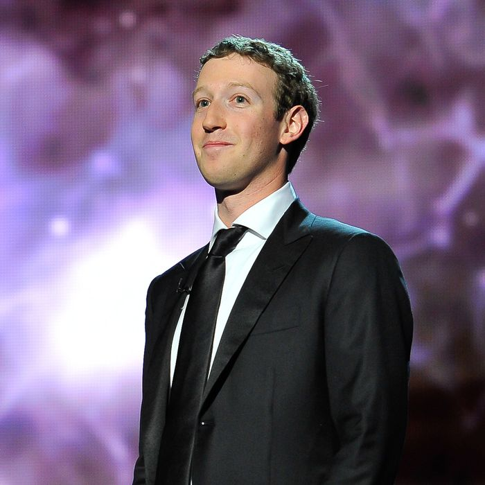 Mark Zuckerberg is a presenter at the 2014 Breakthrough Prizes Awarded in Fundamental Physics and Life Sciences Ceremony at NASA Ames Research Center on December 12, 2013 in Mountain View, California.