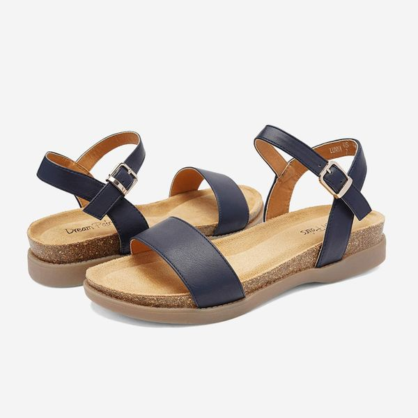 DREAM PAIRS Women's One Band Ankle Strap Soft Flat Sandals