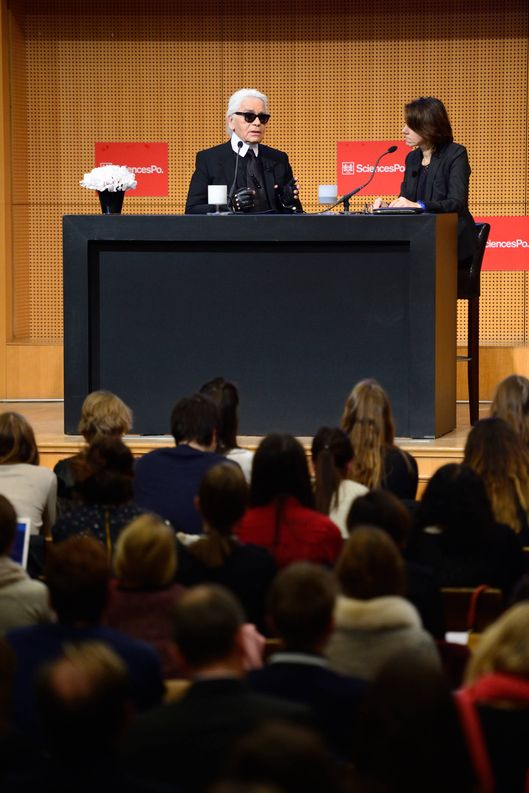 "German fashion designer Karl Lagerfeld gives a master class at the Institute of Political Studies (IEP) or ""Sciences Po"" on November 19, 2013 in Paris."