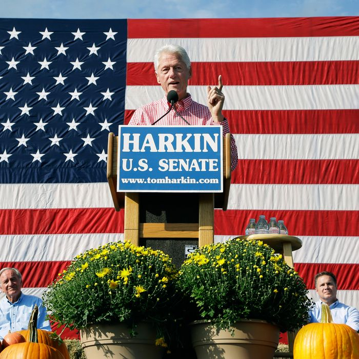 Former President Bill Clinton speaks during U.S. Sen. Tom Harkin's annual fundraising Steak Fry, Sunday, Sept. 14, 2014, in Indianola, Iowa. (AP Photo/Charlie Neibergall)