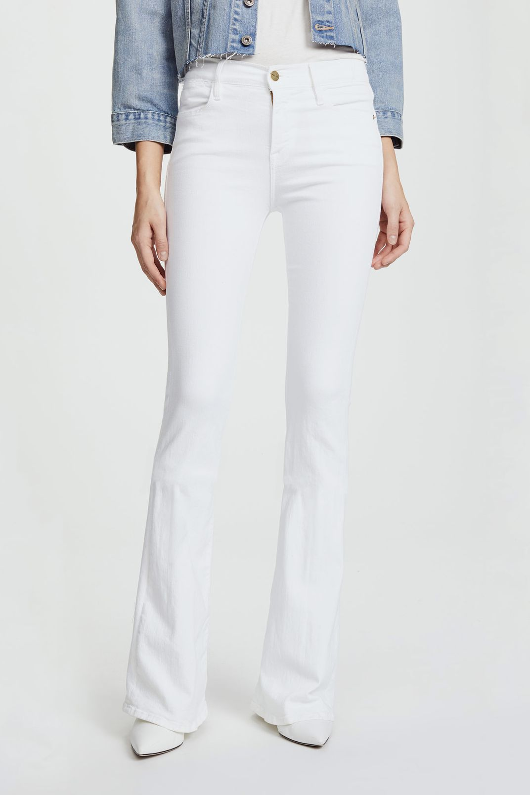20bfebe9e08 Best white jeans for petite women. Frame Le High Flare Jeans