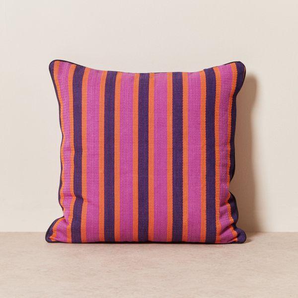 Goodee Pillow - Magenta Stripe Solid