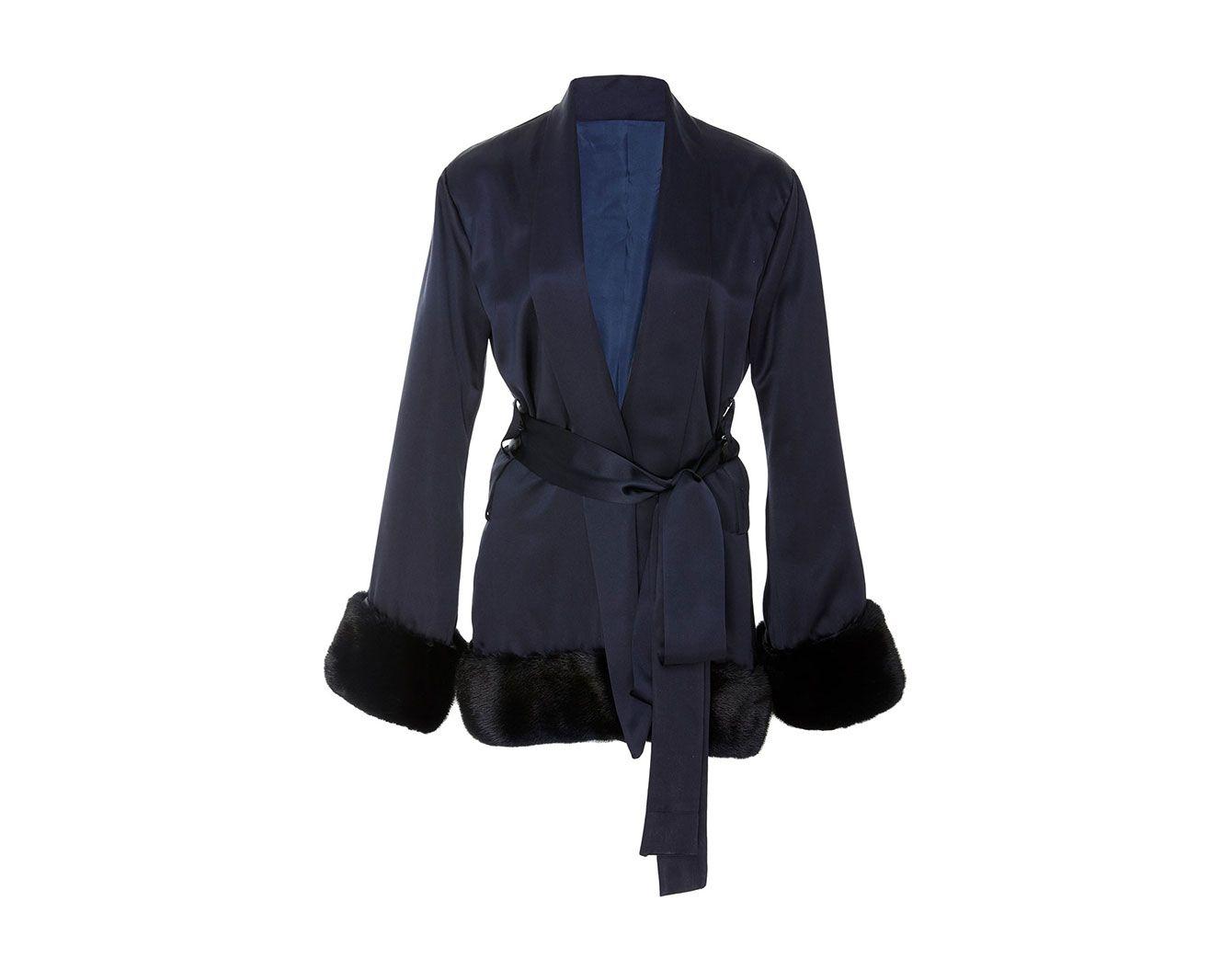 Grace Fuller Fur-Trimmed Silk Mini Robe