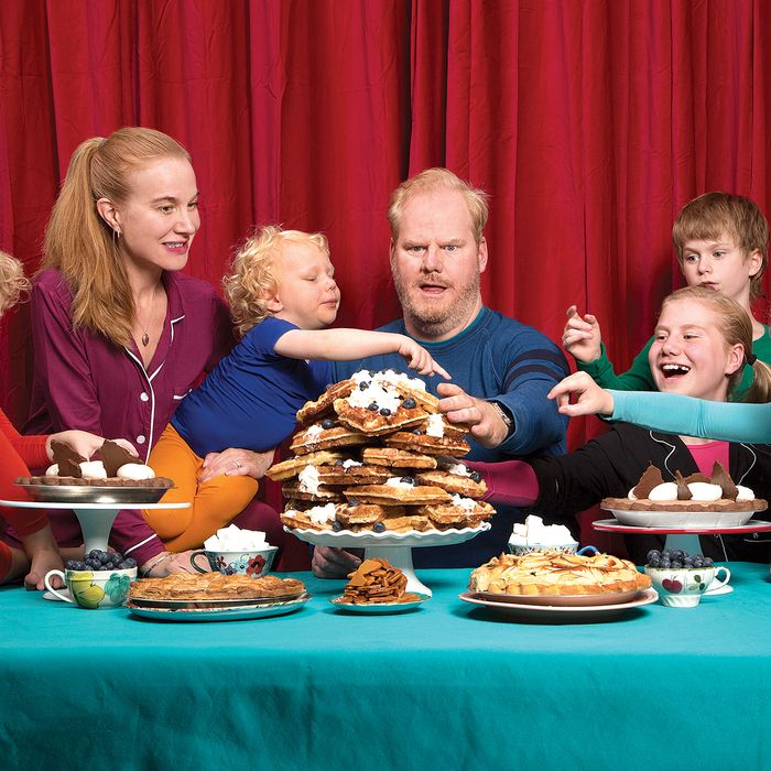 From left to right: Michael, age 4; Jeannie and Jim Gaffigan; Salted-Caramel Apple Pie; Patrick, 3, with Liège Waffles; Lemon Cream Pie; Marre, 11; Dark-Chocolate Cream Pie; Jack, 9; and Katie, 6.