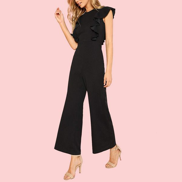Romwe Women's High-Waist Long Jumpsuit