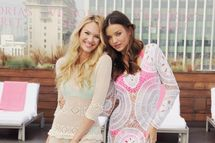 Candice Swanepoel and Miranda Kerr pose at Victoria's Secret Angels Miranda Kerr and Candice Swanepoel Launch The 2012 SWIM Collection at the Thompson Hotel on March 29, 2012 in Beverly Hills, California.