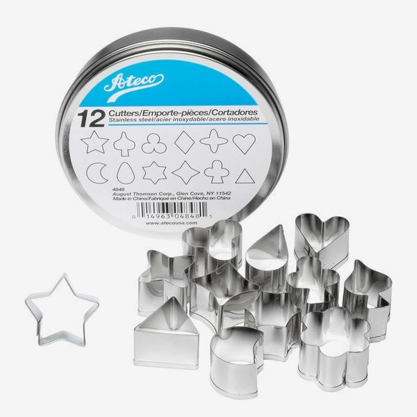"""Ateco 4848 12-Piece Stainless Steel 1"""" Aspic Cutter Set"""