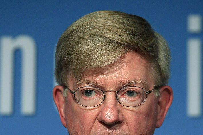 "Columnist George Will participates in a discussion about the late U.S. Senator Daniel Patrick Moynihan, at the Peterson Institute for International Economics on October 27, 2010 in Washington, DC. The discussion was focused on a collection of letters written by the late senator and edited by his daughter Maura Moynihan in a book titled ""Daniel Patrick Moynihan: A Portrait in Letters of an American Visionary""."