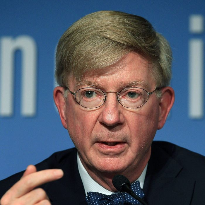 Columnist George Will participates in a discussion about the late U.S. Senator Daniel Patrick Moynihan, at the Peterson Institute for International Economics on October 27, 2010 in Washington, DC. The discussion was focused on a collection of letters written by the late senator and edited by his daughter Maura Moynihan in a book titled