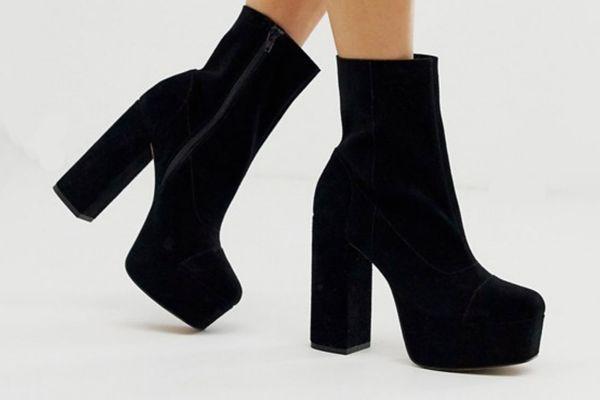 ASOS DESIGN Eclipse Premium Suede Platform Ankle Boots