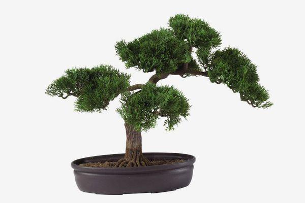 "Nearly Natural Cedar Bonsai Decorative Silk Plant 16"""