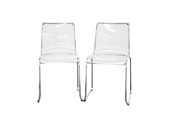 Lino Transparent Clear Acrylic Dining Chair, Set of 2