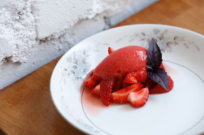 Strawberry Sorbet With More Strawberries.