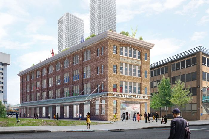 Four-story brick building as a rendering