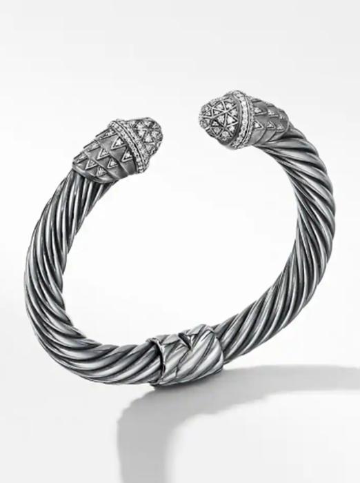 Deco Cable Bracelet with Pavé Diamonds