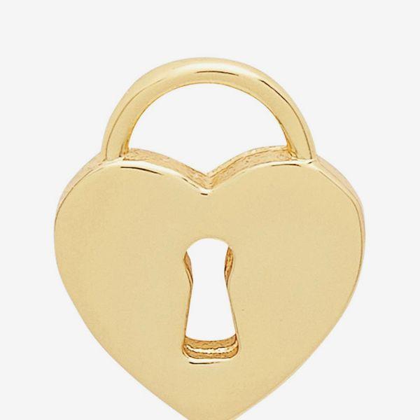 Gorjana Single Heart Lock Stud Earring