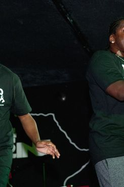 CHICAGO, IL - JULY 27: Pusha T (R) performs during the GOOD Music event presented by Heineken Red Star Access hosted by Rosa Acosta featuring Cyhi Da Prynce And Pusha T at The Shrine on July 27, 2011 in Chicago, Illinois. (Photo by Daniel Boczarski/WireImage for Heineken)