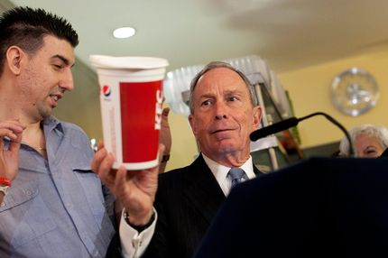 New York City Mayor Michael Bloomberg holds a large cup as he speaks to the media about the health impacts of sugar at Lucky's restaurant, which voluntarily adopted the large sugary drink ban, March 12, 2013 in New York City. A state judge on Monday blocked Bloomberg's ban on oversized sugary drinks but the Mayor plans to appeal the decision.  NEW YORK, NY - MARCH 12:  New York City Mayor Michael Bloomberg holds a large cup as he speaks to the media about the health impacts of sugar at Lucky's restaurant, which voluntarily adopted the large sugary drink ban, March 12, 2013 in New York City. A state judge on Monday blocked Bloomberg's ban on oversized sugary drinks but the Mayor plans to appeal the decision.  (Photo by Allison Joyce/Getty Images)
