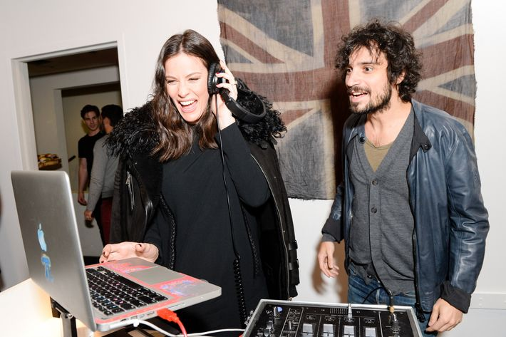 Liv Tyler with Fabrizio Moretti at Belstaff's Soho pop-up, where she unveiled her film <i>Falling Up</i>.