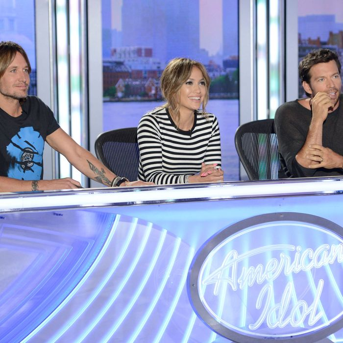 AMERICAN IDOL XIII: Boston Auditions: L-R: Judges Keith Urban, Jennifer Lopez and Harry Connick, Jr. AMERICAN IDOL XIII begins with a two-night, four-hour premiere Wednesday, Jan. 15 (8:00-10:00 PM ET/PT) and Thursday, Jan. 16 (8:00-10:00 PM ET/PT) on FOX. CR: Michael Becker / FOX. © Copyright 2013 FOX Broadcasting Co.
