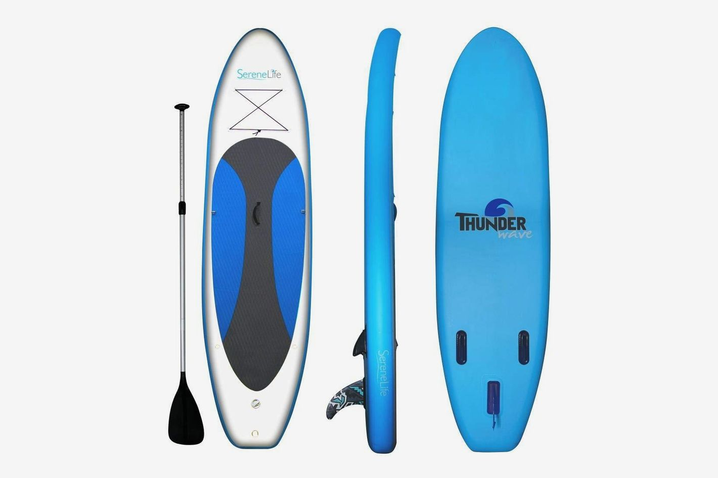 SereneLife Inflatable Stand Up Paddle Board (6 Inches Thick) with Premium SUP Accessories & Carry Bag