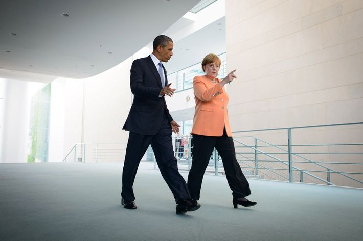 """German Chancellor Anegela Merkel (R) and U.S. President Barack Obama (L) arrived to a press conference on June 19, 2013 in Berlin, Germany. Obama is visiting Berlin for the first time during his presidency and his speech at the Brandenburg Gate is to be the highlight. Obama will be speaking close to the 50th anniversary of the historic speech by then U.S. President John F. Kennedy in Berlin in 1963, during which he proclaimed the famous sentence: """"Ich bin ein Berliner""""."""