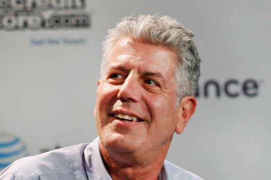 AUSTIN, TX - MARCH 13:  (L-R) Anthony Bourdain Talent/Author Zero Point Zero Production Inc and Tom Vitale Dir/Producer Zero Point Zero Production Inc speak onstage at Digital Debauchery with Anthony Bourdain during the 2012 SXSW Music, Film + Interactive Festival at Paramount Theatre on March 13, 2012 in Austin, Texas.  (Photo by Sean Mathis/WireImage)