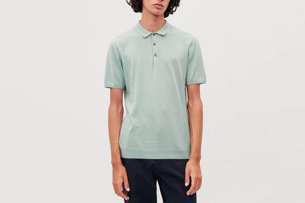 COS Silk-Cotton Polo Shirt in Sea Blue
