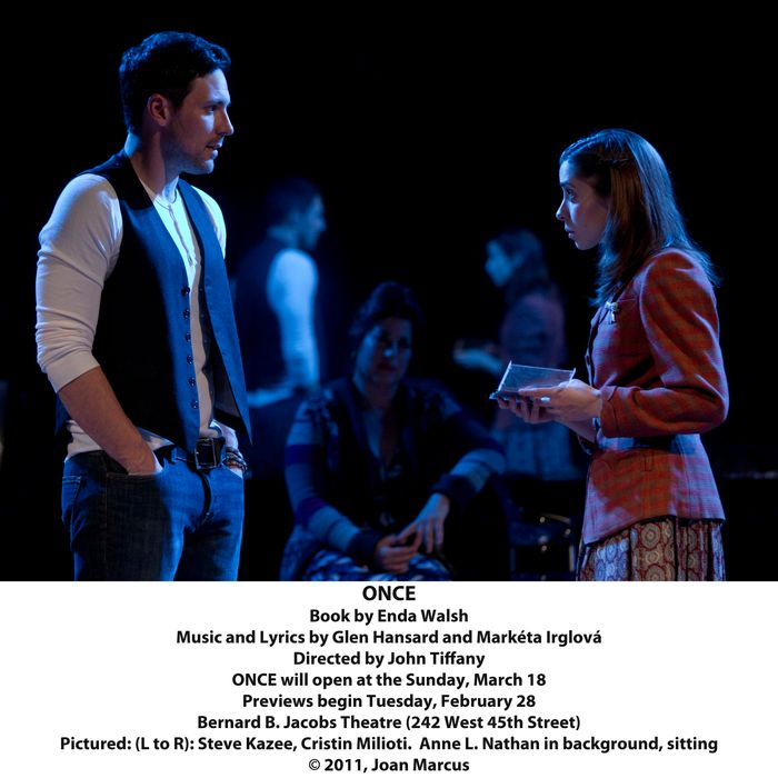 OnceNew York Theatre WorkshopCast List:David Abeles Claire Candela Will Connolly Elizabeth A. Davis Steve Kazee David Patrick Kelly Cristin Milioti Anne L. Nathan Lucas Papaelias Andy Taylor Erikka Walsh Paul Whitty J. Michael ZygoProduction Credits:Directed by John Tiffany Choreographed by Steven Hoggett Scenic and Costume Design by Bob Crowley Lighting Design by Natasha Katz Sound Design by Clive GoodwinOther Credits:Lyrics by: Glen Hansard and Mark?ta Irglov?Music by: Glen Hansard and Mark?ta Irglov?Book by: Enda Walsh