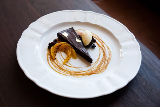 Chocolate Almond Torte with Spiced Caramel, Ginger Ice Cream and Chocolate Meringue