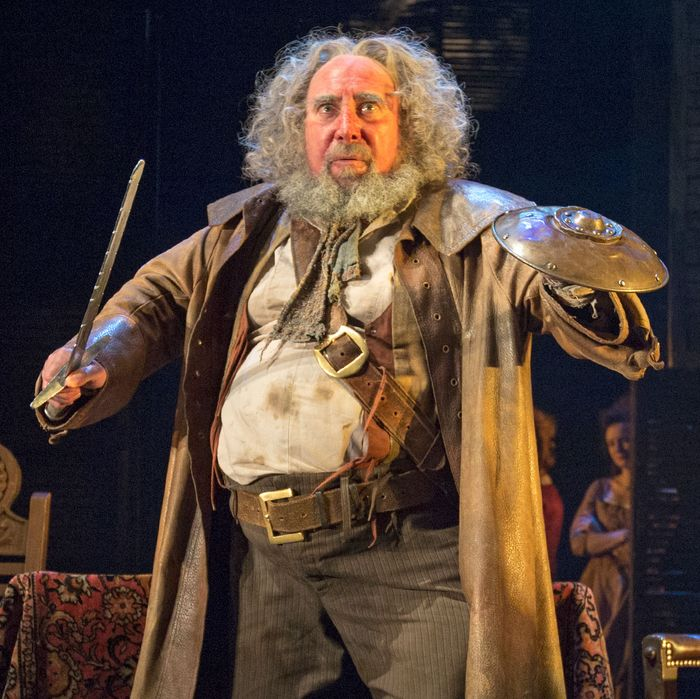 Photo: King Henry (Jasper Britton)Prince Hal (Alex Hassell)Sir John Falstaff ( Antony Sher)in King and Country: Shakespeare's Great Cycle of KingsHENRY IV Part I BAM, the Royal Shakespeare Company, and The Ohio State University presentRoyal Shakespeare CompanyDirected by Gregory DoranSet design by Stephen Brimson LewisLighting design by Tim MitchellMusic by Paul EnglishOne Scene photographed: Saturday, March 26, 2016; 1:30 PM at the BAM Harvey Theater; Brooklyn Academy of Music, NYC; Photograph: © 2016 Richard Termine PHOTO CREDIT - Richard Termine