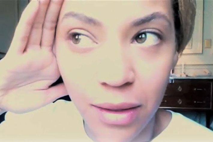 Beyonce, makeup-free.