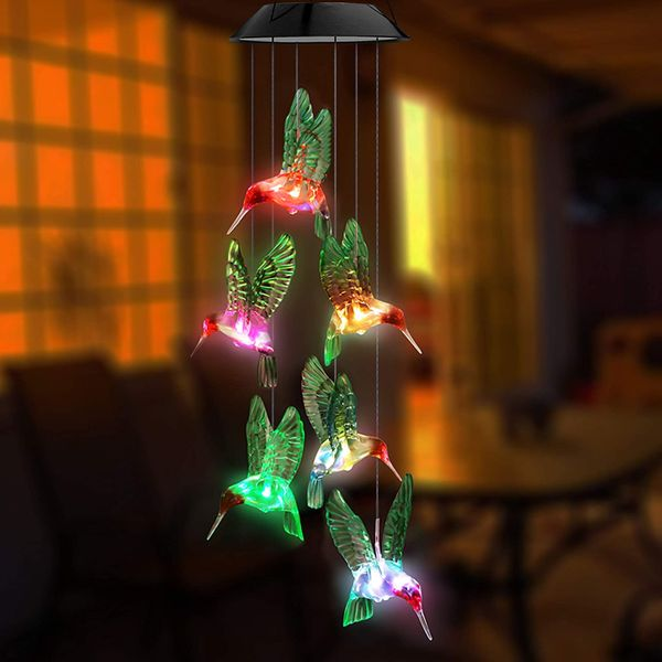 Topspeeder LED Solar Hummingbird Wind Chime