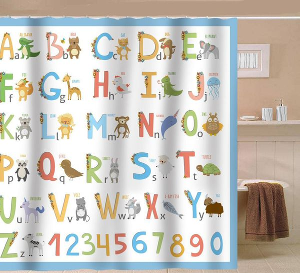 Sunlit Alphabet Fabric Shower Curtain for Kids
