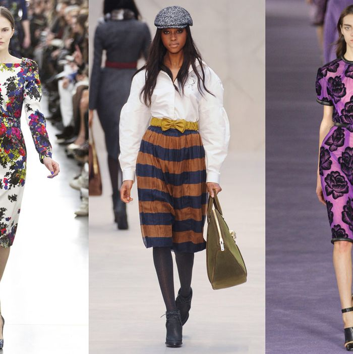 Looks from Erdem, Burberry Prorsum, and Christopher Kane.