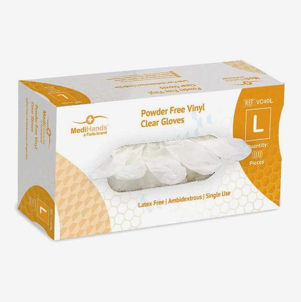 MediHands Clear Vinyl Gloves, 100 pack