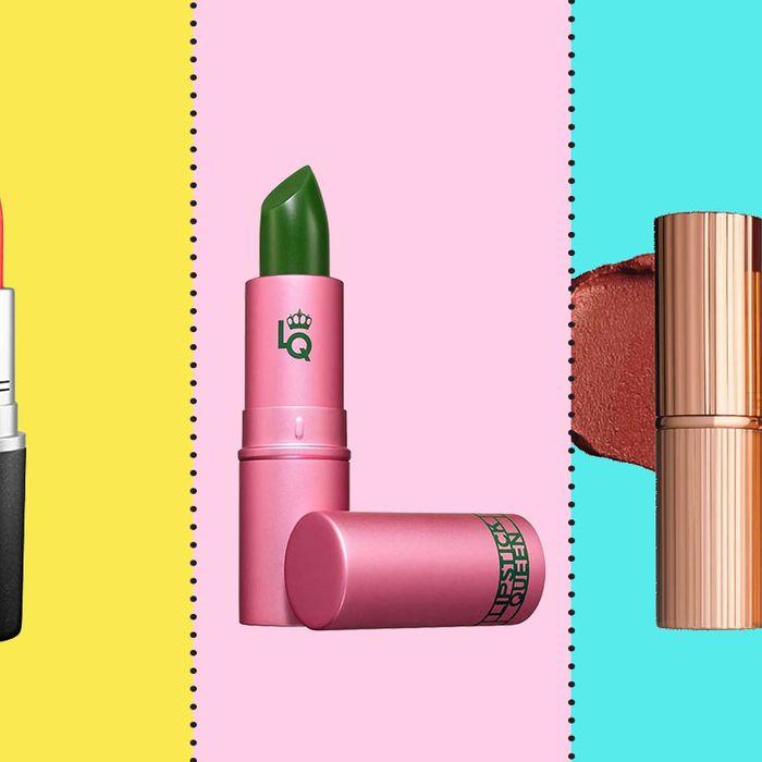 Three lipsticks on a colored background.