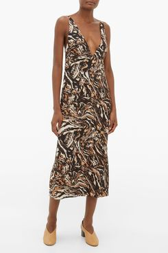 Raey Marbled Animal-Print Silk Slip Dress