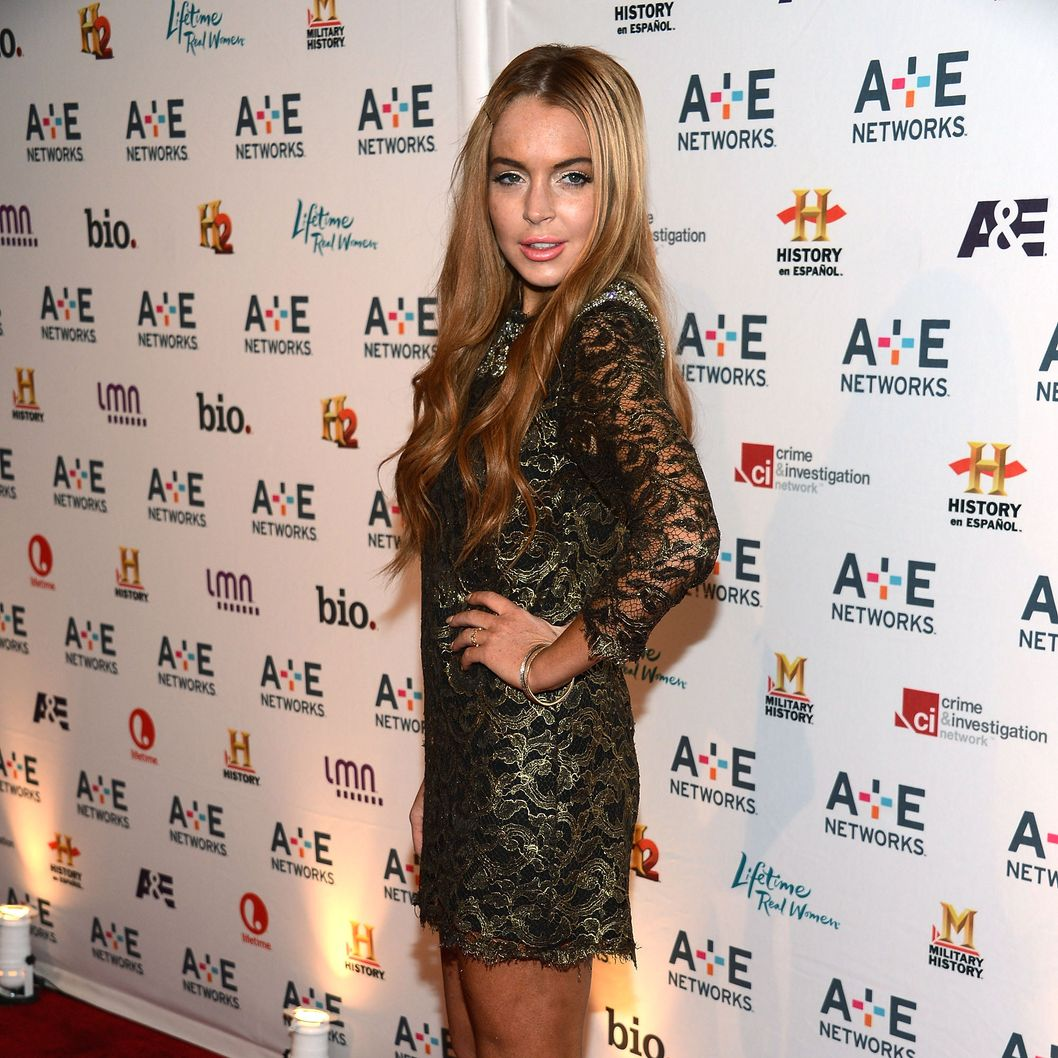 Lindsay Lohan attends the A+E Networks 2012 Upfront at Lincoln Center on May 9, 2012 in New York City.