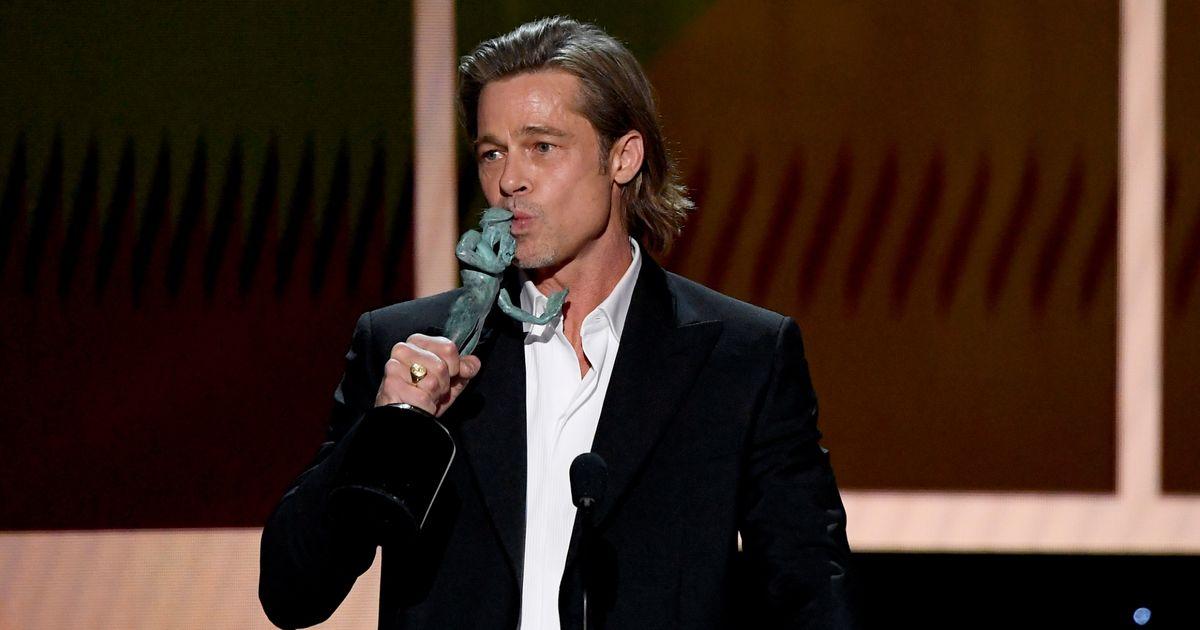 Brad Pitt Thanks Margot Robbie's Feet For His SAG Award (And Margaret Qualley's Feet And Dakota…)
