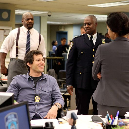 BROOKLYN NINE-NINE:  Jake (Andy Samberg, second from L) mocks the new Captain (Andre Braugher, C) in the new comedy BROOKLYN NINE-NINE premiering this fall on FOX. Also pictured L-R: Terry Crews and Melissa Fumero. ?2013 Fox Broadcasting Co. Cr: Eddy Chen/FOX