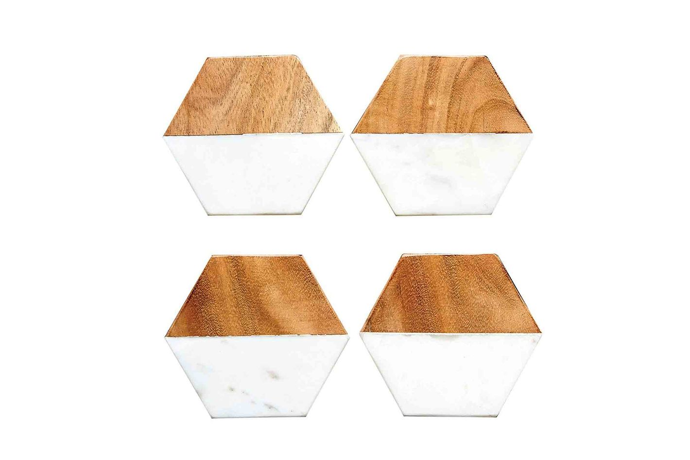 Creative Co-Op Hexagon Marble & Wood Coaster Set