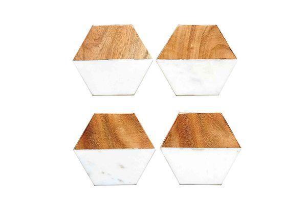 Creative Co-Op Hexagon Marble & Wood Coaster Set