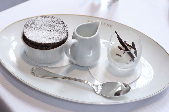 A traditional chocolate soufflé.