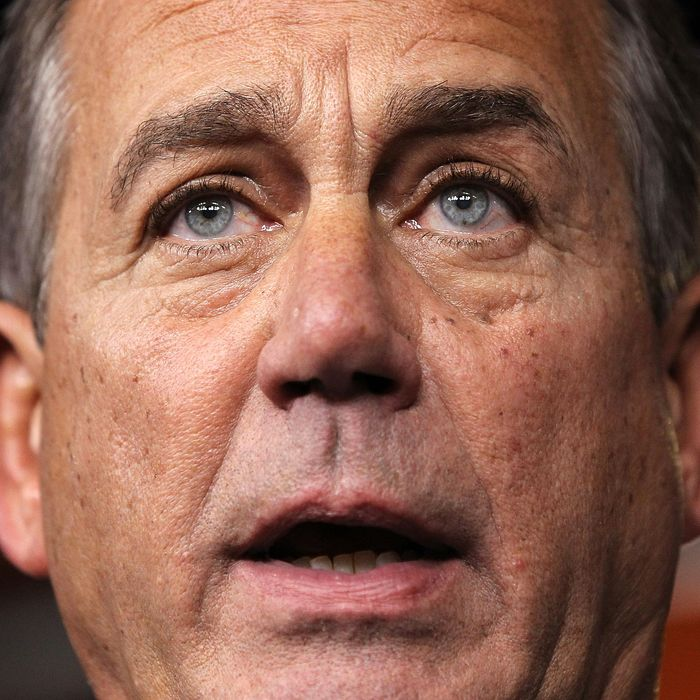 U.S. Speaker of the House Rep. John Boehner (R-OH) speaks during his weekly news conference December 20, 2012 on Capitol Hill in Washington, DC. Speaker Boehner spoke on the latest development of the fiscal cliff issue and the