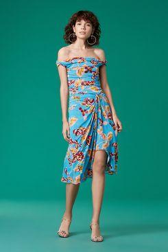Diane von Furstenberg Off-The-Shoulder Ruched Midi Mesh Dress