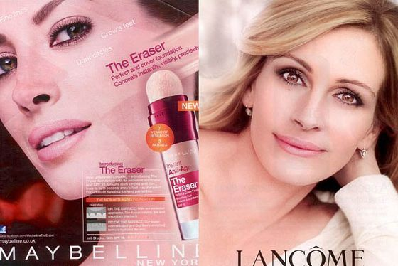 From left: Christy Turlington for Maybelline and Julia Roberts for Lancome.