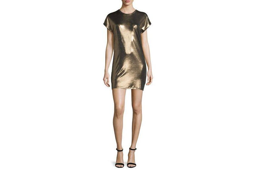 Halston Heritage Short-Sleeve Foil Mini-Dress