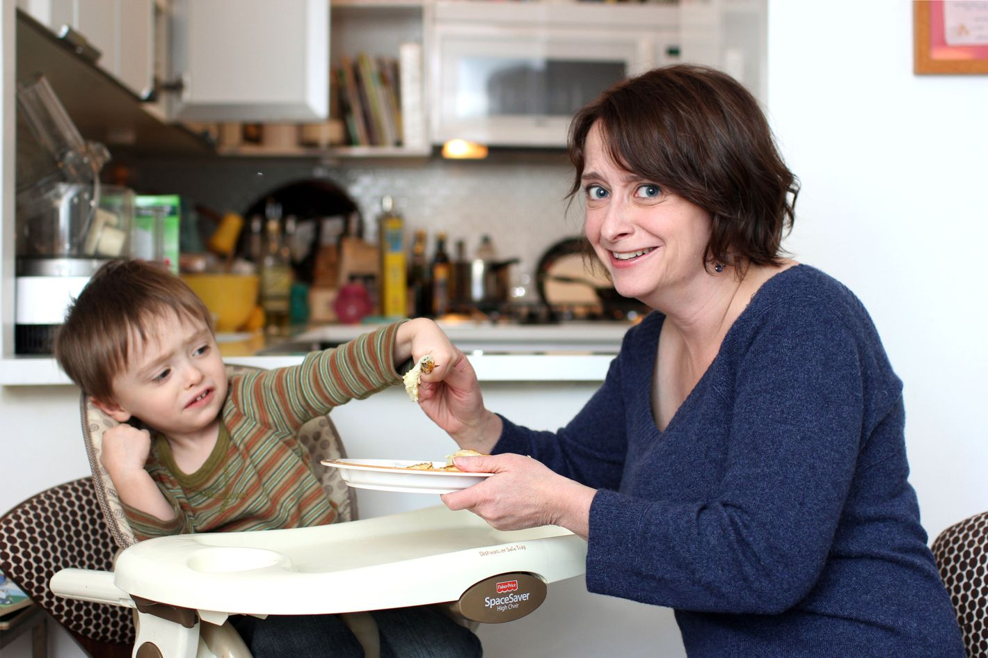 Dratch with her son Eli, who is not a big fan of fritters.