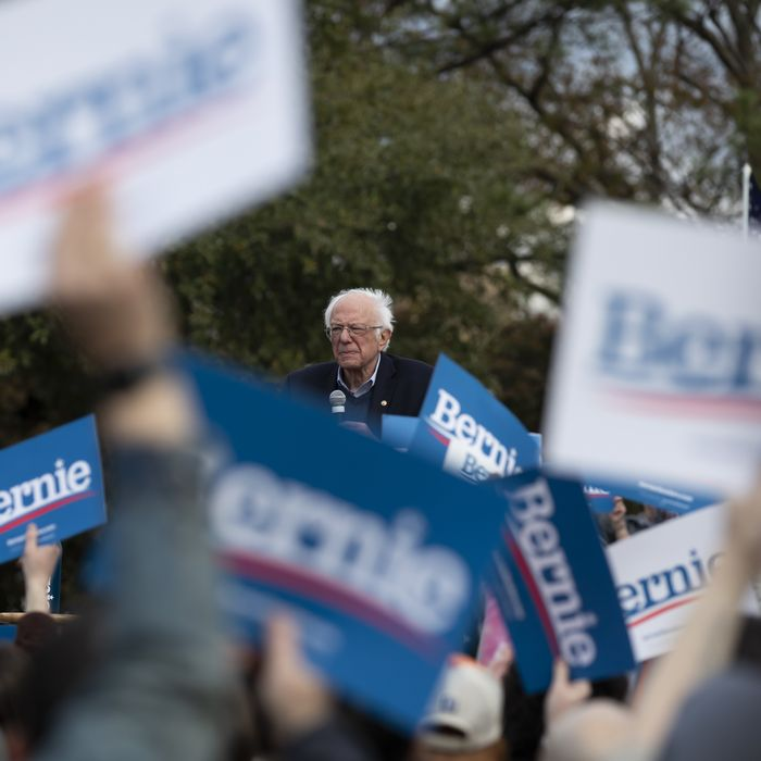 Senator Bernie Sanders, 2020 presidential candidate, speaks during a Get Out The Vote Rally at Finlay Park in Columbia, South Carolina, U.S., on Friday, Feb. 28, 2020.